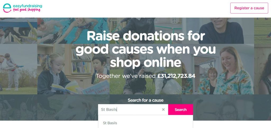 Easy fundraising website search for St Basils