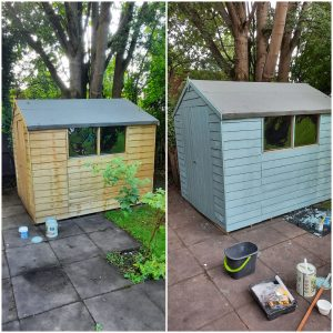 Shed before and after